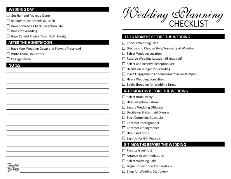 Wedding Planner Printable Checklist