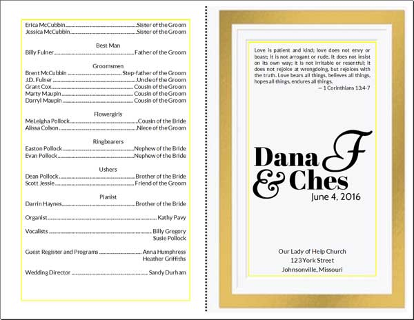 Diy Wedding Program Card