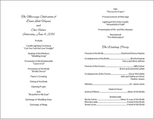 Wedding Program Card - Inside Sections