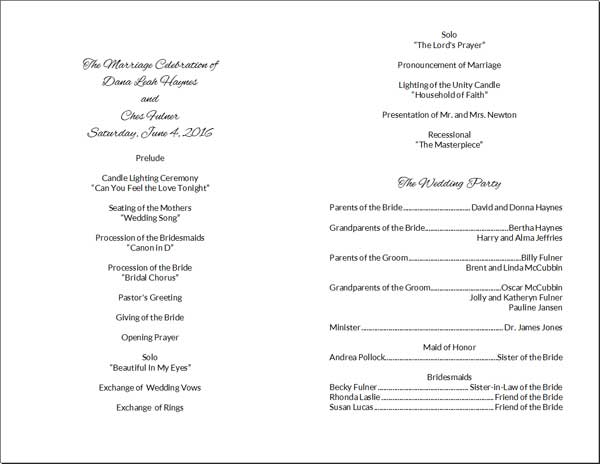 Wedding Program Card Inside Sections