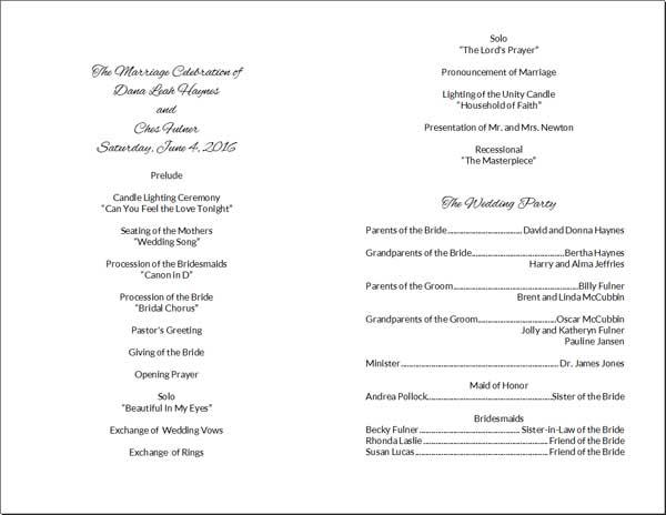 do it yourself wedding program cards