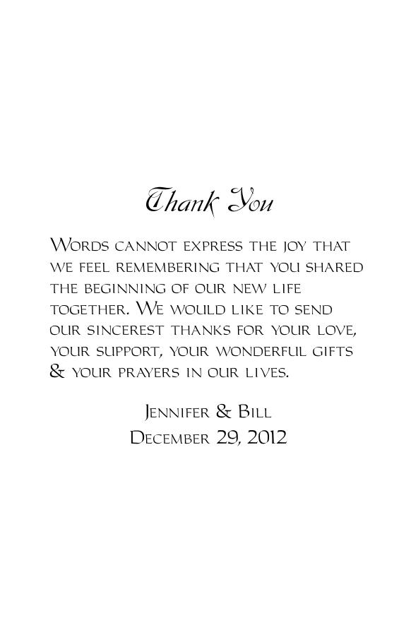 Thank You Message Wording Back Wedding Program Template 7