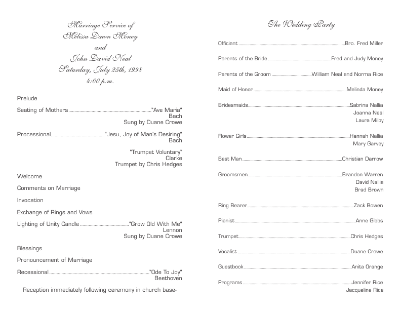 Program template 6 wedding program template 6 pronofoot35fo Images