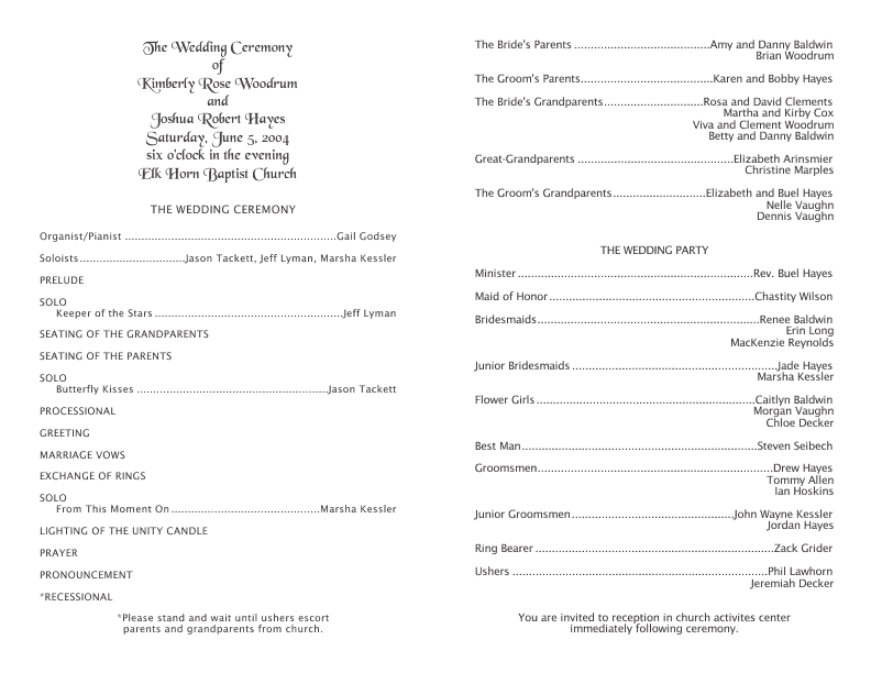 wedding program templates