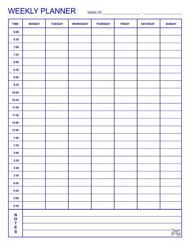 Weekly Planner Blue