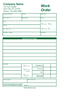Work Order Form - Green