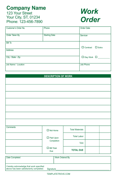 Work Order Forms