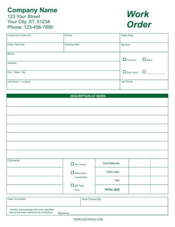 workorder template - free business forms templates invoices receipts and more