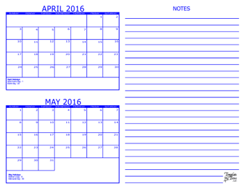 Month Calendars for 2016 – 2018 – Template Trove