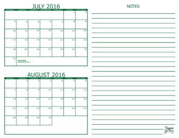 2 Month Calendars for 2016 – 2018 – Template Trove
