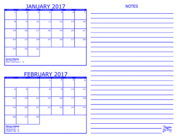 2017 – 2 Month Calendar