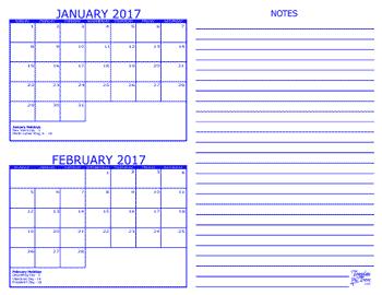 Template Trove 2 Month Calendars | Calendar Template 2016