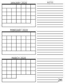 3 Month Calendars for 2020 – 2022 – Template Trove