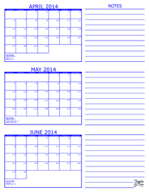 Month Calendars for 2014 – 2016 – Template Trove