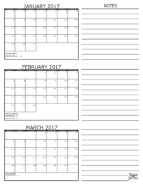 3 Month Calendars for 2017 – 2019 – Template Trove