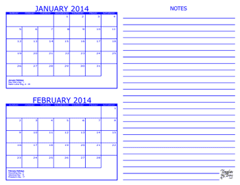Month Calendars for 2013 – 2015