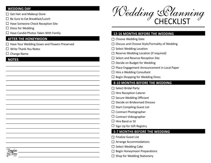 Checklist For Wedding Planning  Template Trove