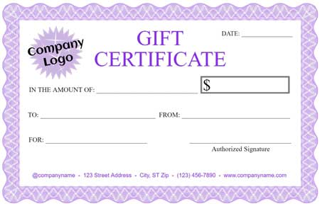 Gift certificate maker template trove for Full page gift certificate template